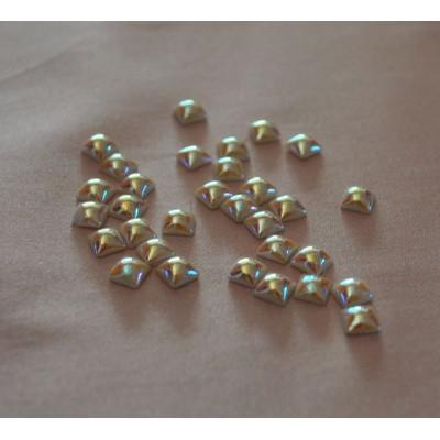 6 mm Crystal AB White Pearl négyzet félgyöngy