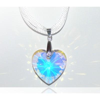 Swarovski 6228 kristály szív medál Crystal AB 28mm