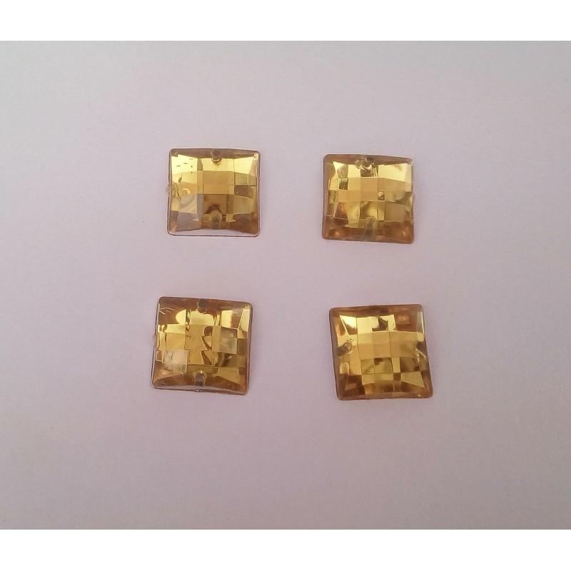 14mm Topáz Arany négyzet varrható Akril kristály