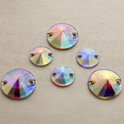 Rivoli 14 mm Crystal AB, varrható szintetikus kristály 20 db