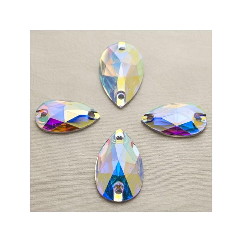 Csepp 22 x 13 mm Crystal AB, varrható szintetikus kristály 20 db