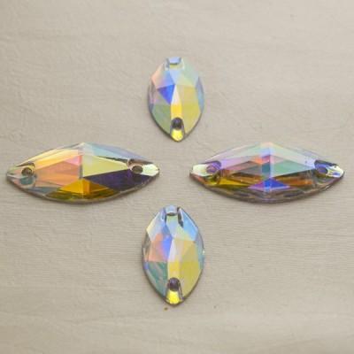 Navette 18 x 10 mm Crystal AB, varrható szintetikus kristály 20 db
