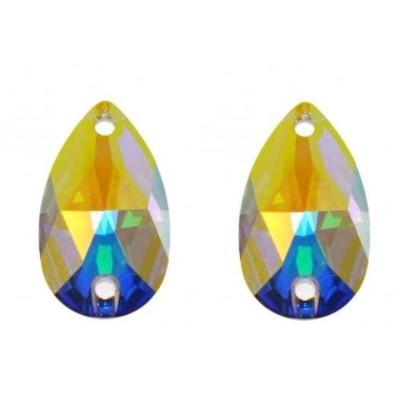 Több minőség! Csepp 18 mm Crystal AB varrható üveg kristály