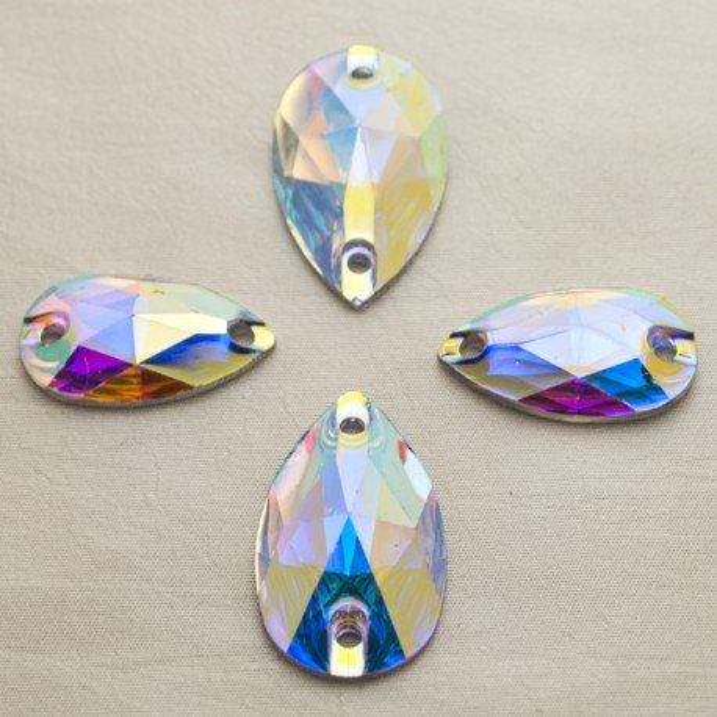 Csepp 18 x 10 mm Crystal AB, varrható szintetikus kristály 20 db