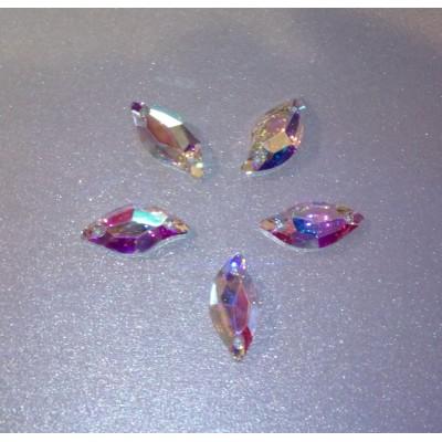Levél 20 x 10 mm Crystal AB, varrható szintetikus kristály