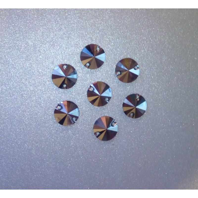 Rivoli 12 mm Jet Hematite varrható szintetikus kristály