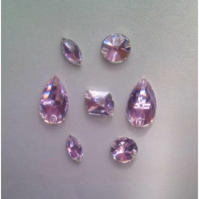+ DiamonD + Négyzet 14mm Violet MIX varrható üveg kristály