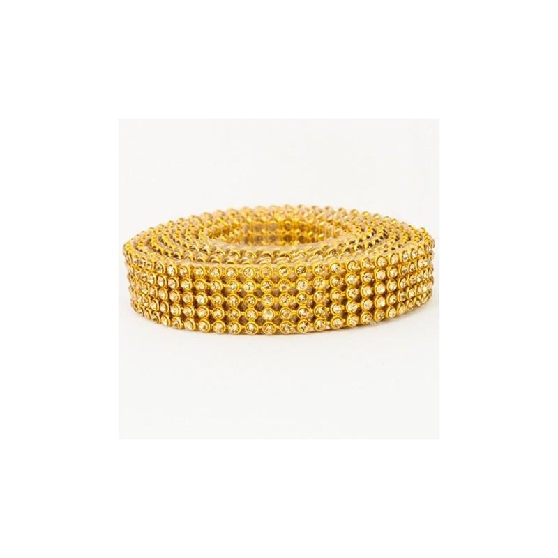 ss10 ARANY + GOLD strassz kristály szalag 120 cm